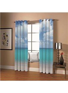 3D Ocean Blue Sky White Cloud Printed 2 Panels Custom Curtains