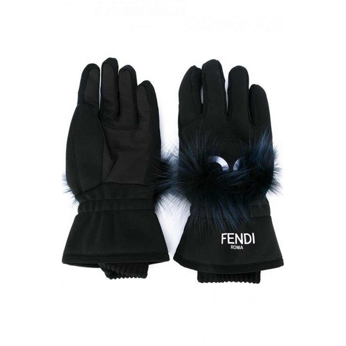 Fendi \N Black Fox Gloves for Women M International