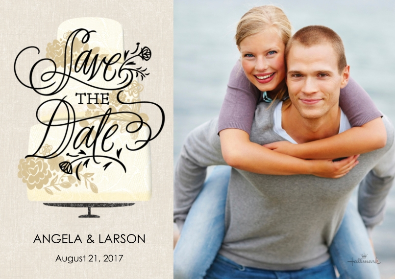 Save the Date 5x7 Cards, Standard Cardstock 85lb, Card & Stationery -Wedding Cake Save the Date