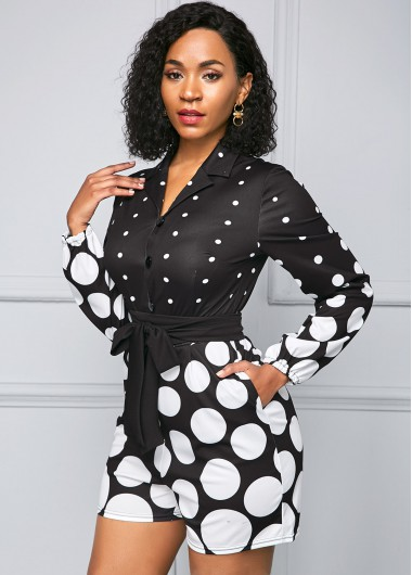 Belted Polka Dot Print Long Sleeve Jumpsuit - L