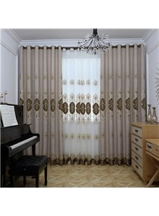 Modern Simple Style European Embroidered Hand-made Blackout Grommet Curtain