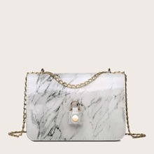 Girls Marble Pattern Chain Crossbody Bag