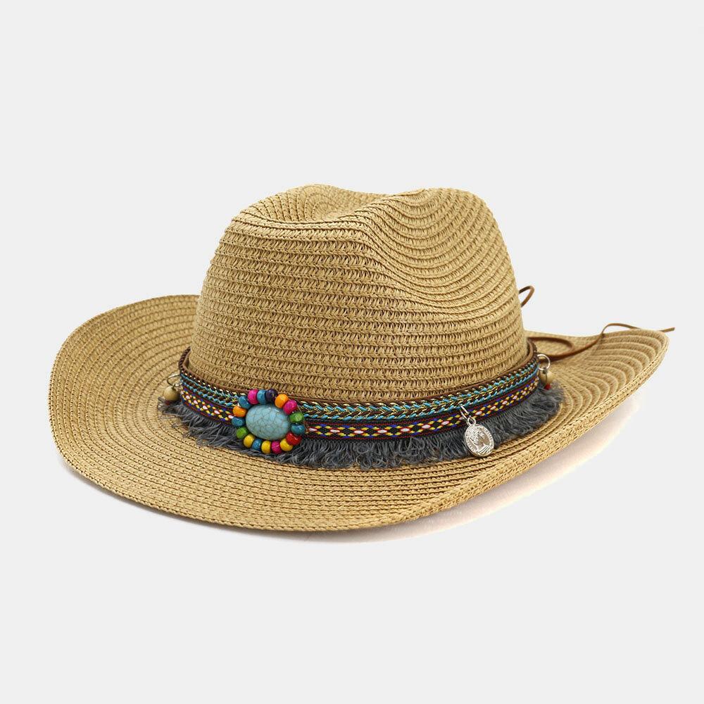 Men And Women Western Cowboy Ethnic Wind Straw Hat Outdoor Beach Hat