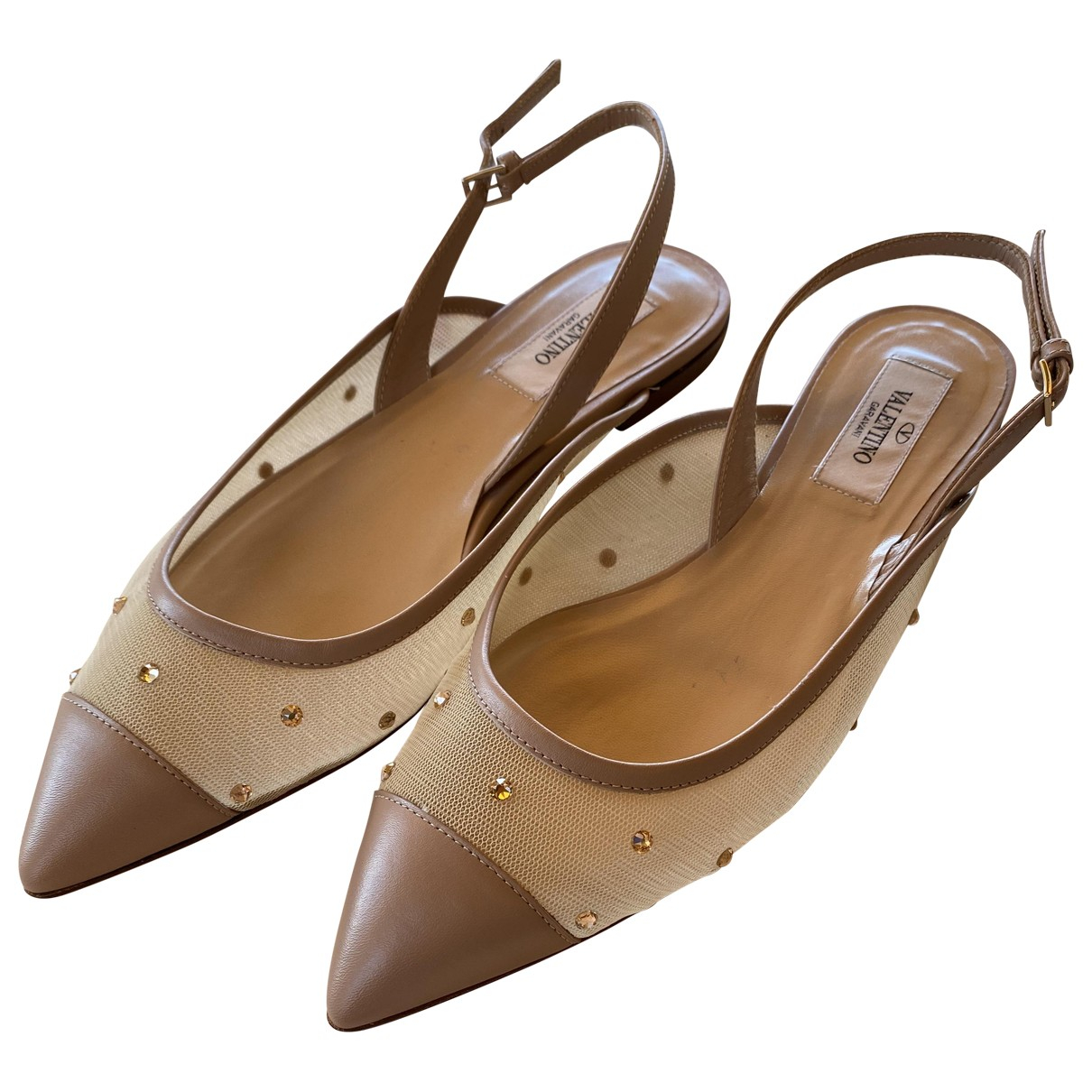 Valentino Garavani \N Beige Leather Ballet flats for Women 37 EU