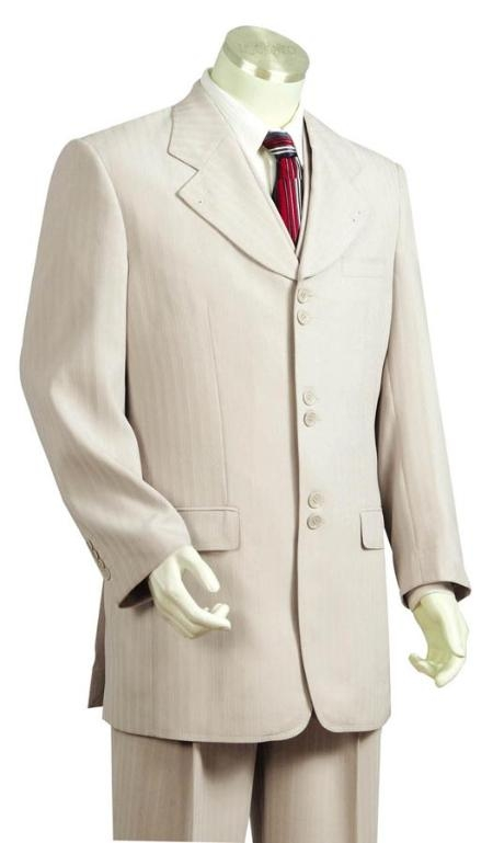 6 Button 3 Piece Off White Suit Wide Leg Pant Mens