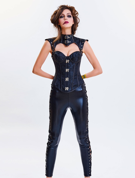 Milanoo Steampunk Halloween Costume Corset Women Strapless Cincher Top Jacquard Waist Trainer