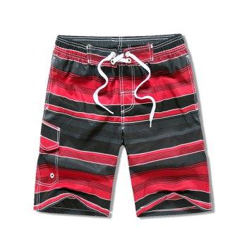 Flap Pocket Striped Drawstring Swimming Beach Shorts
