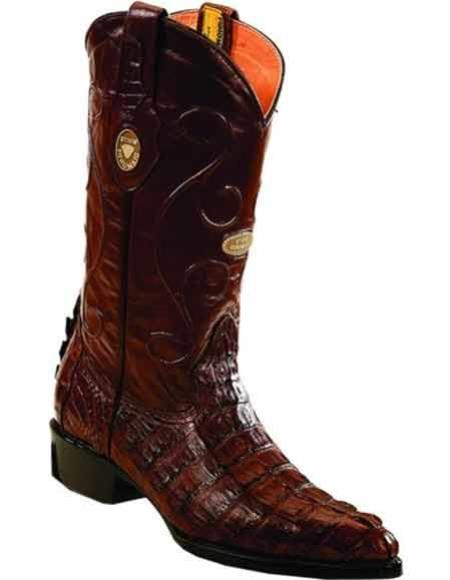 Men's Genuine Caiman Tail Handcrafted J Toe Brown Leather Insole Boots
