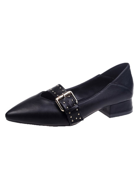 Milanoo Black PU Leather Loafers Pointed Toe Rivets Casual Shoes Women\'s Shoes