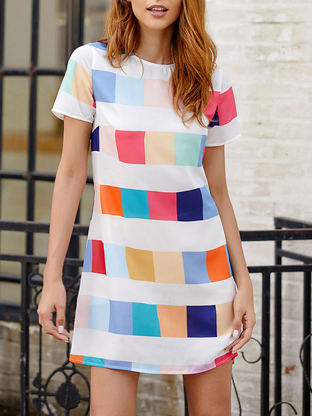 Milanoo White Summer Dresses Colorful T Shirt Dress Jewel Neck Plaid Women Sundress