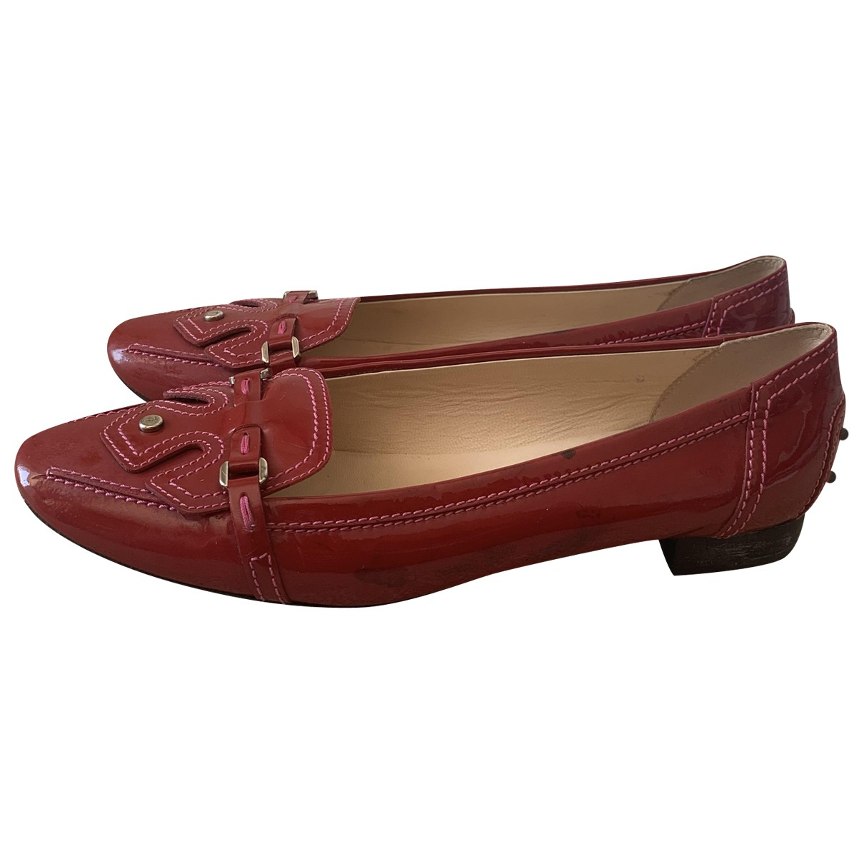 Tod's \N Red Patent leather Flats for Women 38 EU