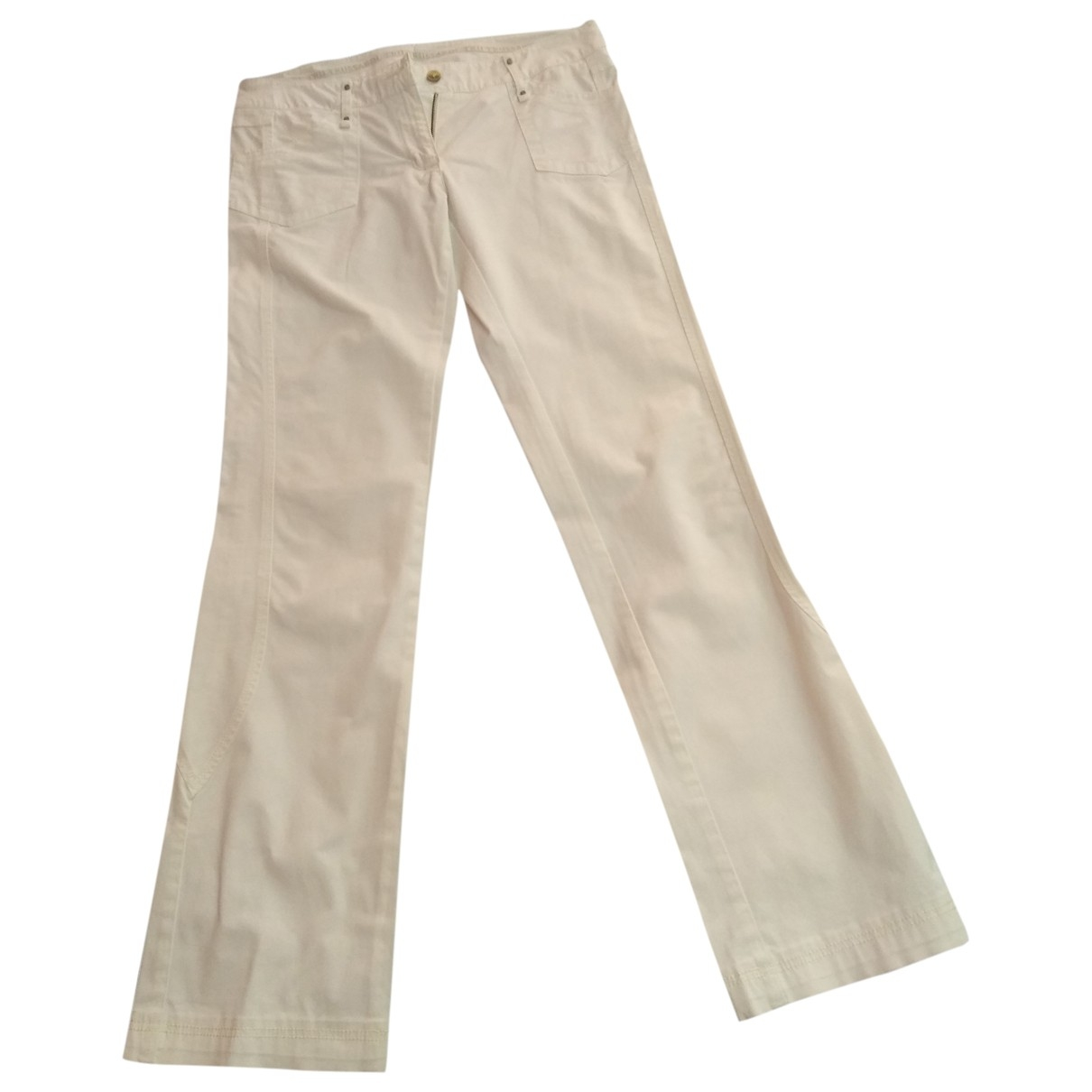 Trussardi \N White Cotton Trousers for Women 42 IT