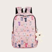 Girls Cartoon Cat Graphic Large Capacity Backpack
