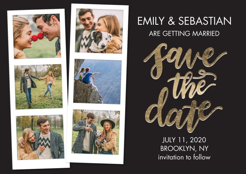 Save the Date Flat Matte Photo Paper Cards with Envelopes, 5x7, Card & Stationery -Save the Date Filmstrip Gold