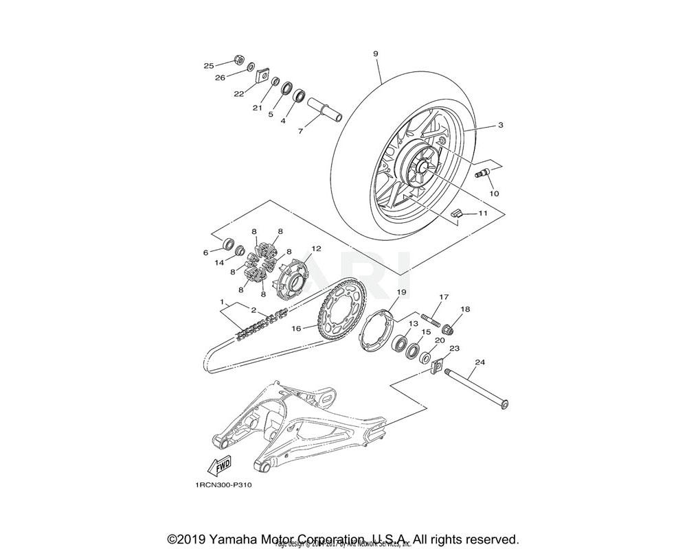 Yamaha OEM 1RC-25381-00-00 AXLE, WHEEL