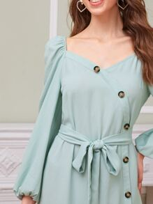 Lantern Sleeve Button Front Wrap Belted Dress
