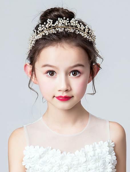 Milanoo Ivory Flower Girl Headpieces Headband Kids Hair Accessories