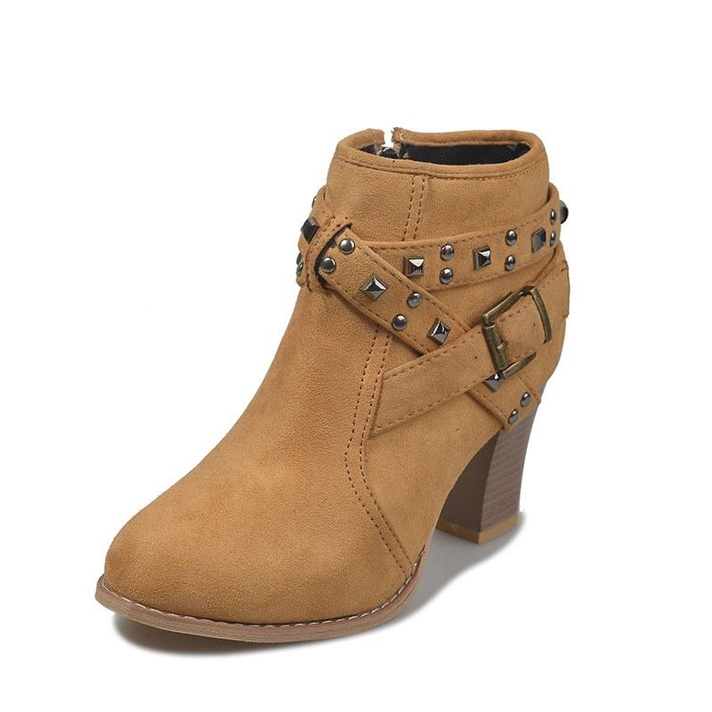 Ericdress Round Toe Plain Side Zipper Women's Ankle Boots