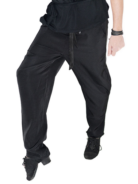 Milanoo Ballroom Dance Costume Pants Men Black Training Dancing Bottoms