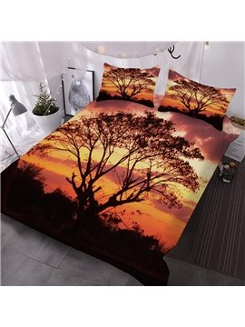 Black Trees And Grass In The Night Printed 3-Piece Comforter Sets