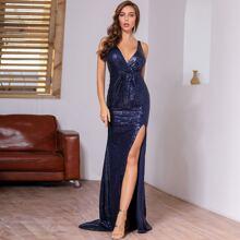 DKRX Deep V Neck Split Thigh Sequin Dress