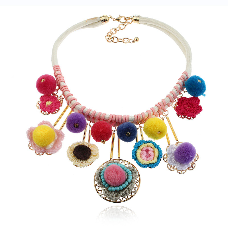 Colorful Pom Pom Women Chain Tassel Pendant Necklace