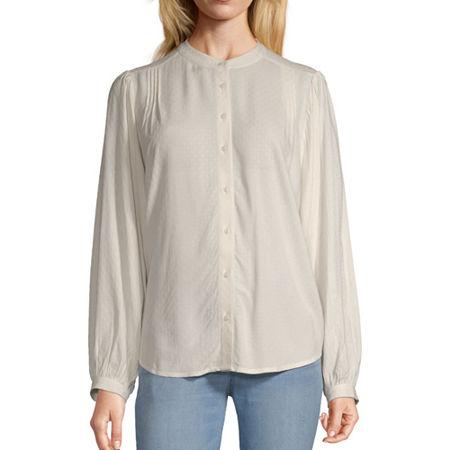Worthington Womens Long Sleeve Blouse, Xx-large , White