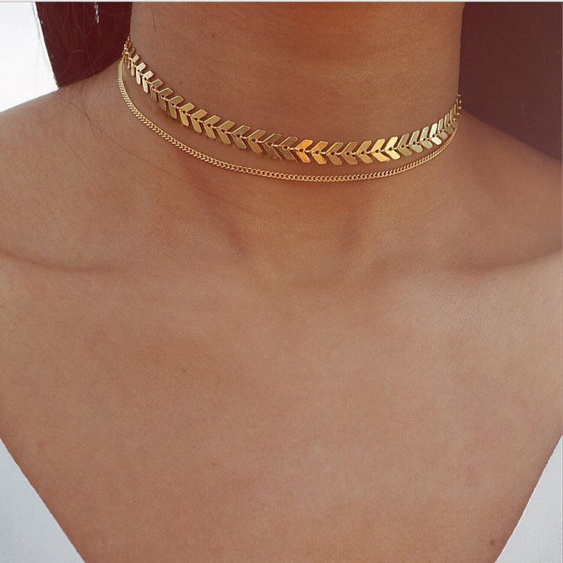 Fashion Chocker Necklace Gold Double Deck Fishbone Paillette Chain Necklace Jewelry for Women