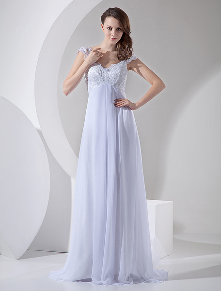 Milanoo White Wedding Dresses Chiffon V Neck Beach Bridal Dress Lace Beading Empire Waist Summer Wedding Gown With Train