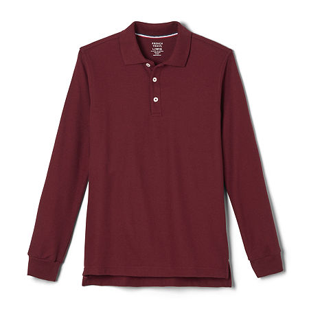 French Toast Little & Big Boys Long Sleeve Polo Shirt, Medium , Red