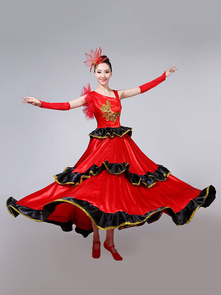Milanoo Flamenco Girls Red Layered Billowing Dancing Skirt Adults Spanish Dancer Ballroom Dress Paso Doble Costumes Halloween
