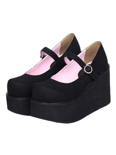 Milanoo Lovely Street Wear Black Suede Leather Platform Lolita Shoes