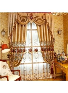 Noble and Elegant Soft Chenille Golden Custom Decorative Living Room Sheer Window Drape
