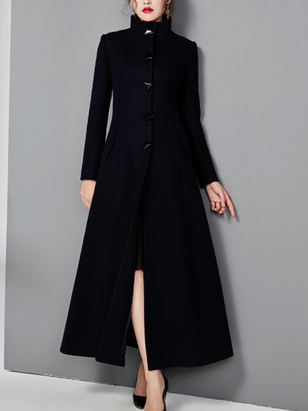 Milanoo Outerwear For Woman Stand Collar Long Sleeves Buttons Casual Woolen Coat