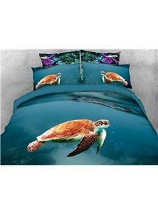 Swimming Sea Turtle 3D Animal Comforter Soft Lightweight Warm 5-Piece Comforter Sets