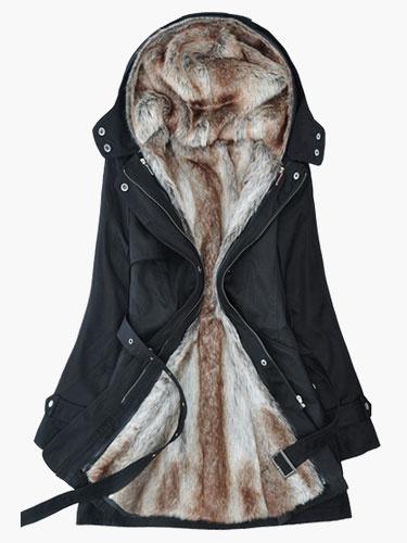Milanoo Faux Fur Coat Women Parka Jacket Hoodie Military Jacket Shearing Coat Long Sleeve Jacket