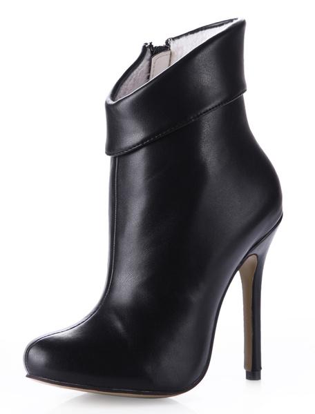 Milanoo Black Pointed Toe Stiletto Heel Fabulous High Heel Booties For Woman
