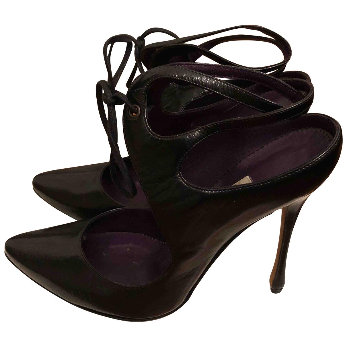 Manolo Blahnik \N Black Leather Heels for Women 38 EU
