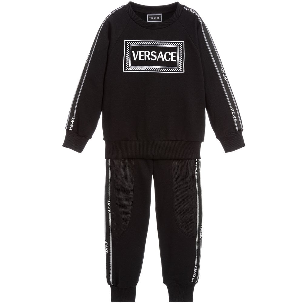 Versace Young Versace Logo Print Tracksuit Colour: BLACK, Size: 8 YEAR