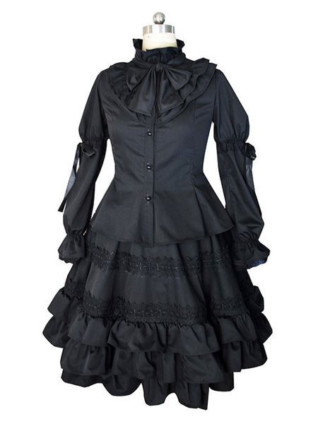 Milanoo Date A Live Tokisaki Kurumi Halloween Cosplay Costume Gothic Lolita One Piece Dress