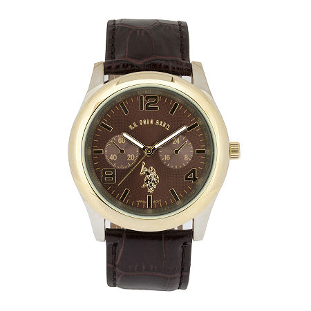 U.S. Polo Assn. Mens Brown Leather Strap Watch, One Size , No Color Family