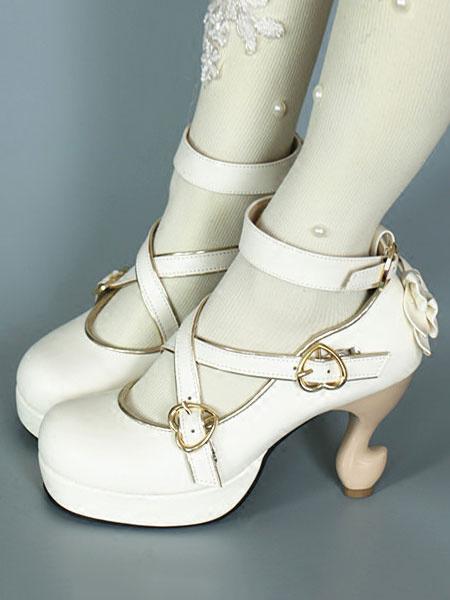 Milanoo Baroque Lolita Footwear Strappy Metal Buckle Bow Platform Lolita High Heels