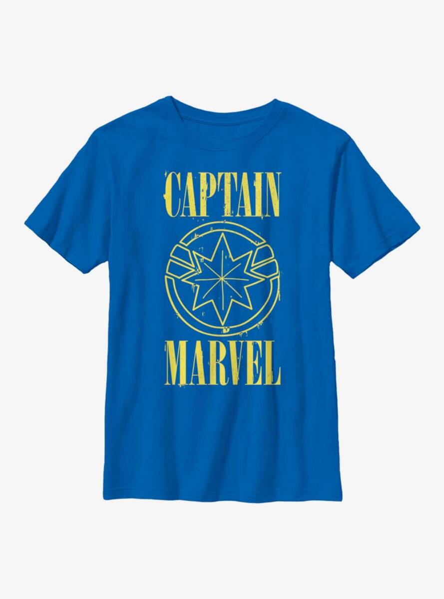 Marvel Captain Marvel Yellow Logo Youth T-Shirt