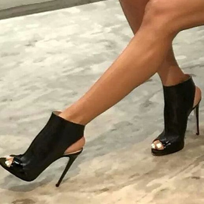 Ericdress Cool Black Peep Toe Backless Stiletto Sandals