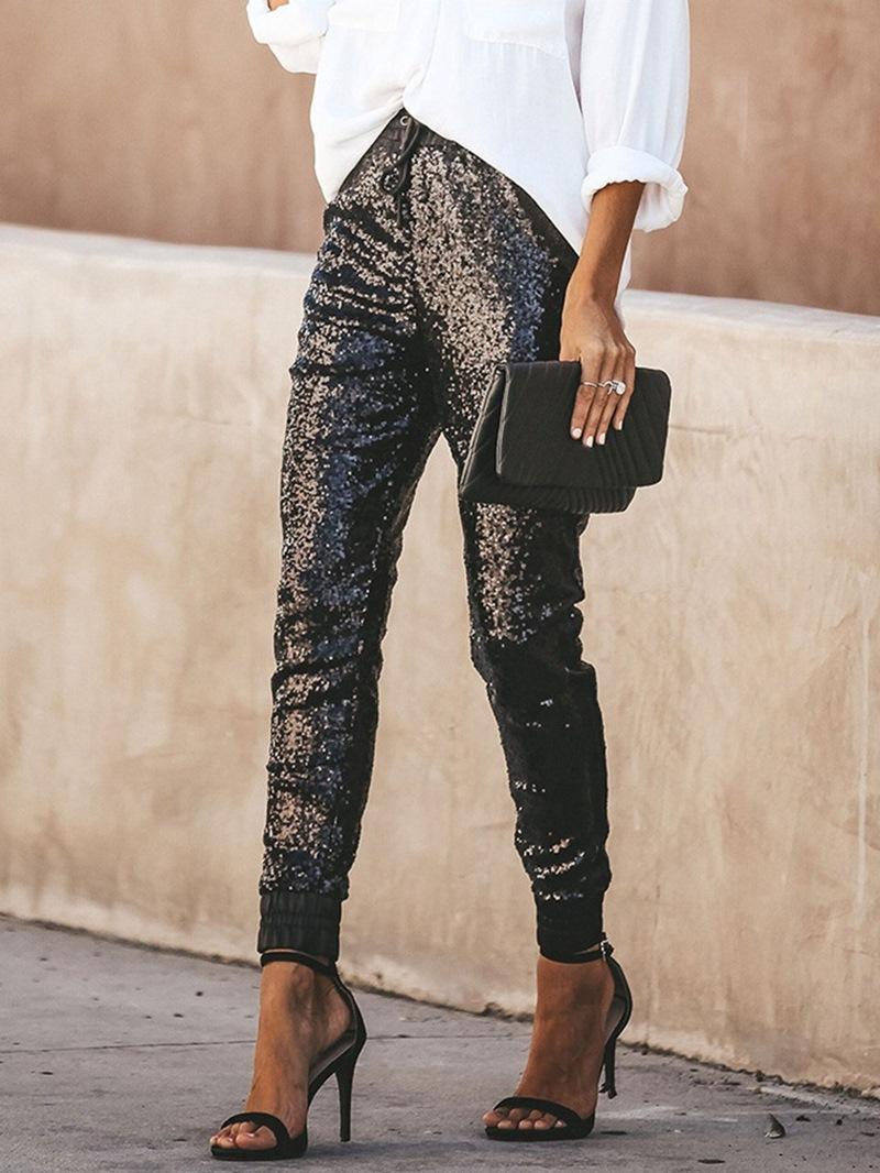 Ericdress Slim Sequins Plain Ankle Length Pencil Pants Casual Pants