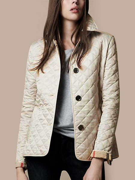 Milanoo Women Quilted Jacket Black Button Long Sleeve Turndown Collar Padded Coat