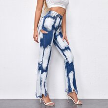 Color-block Raw Hem Flare Leg Jeans