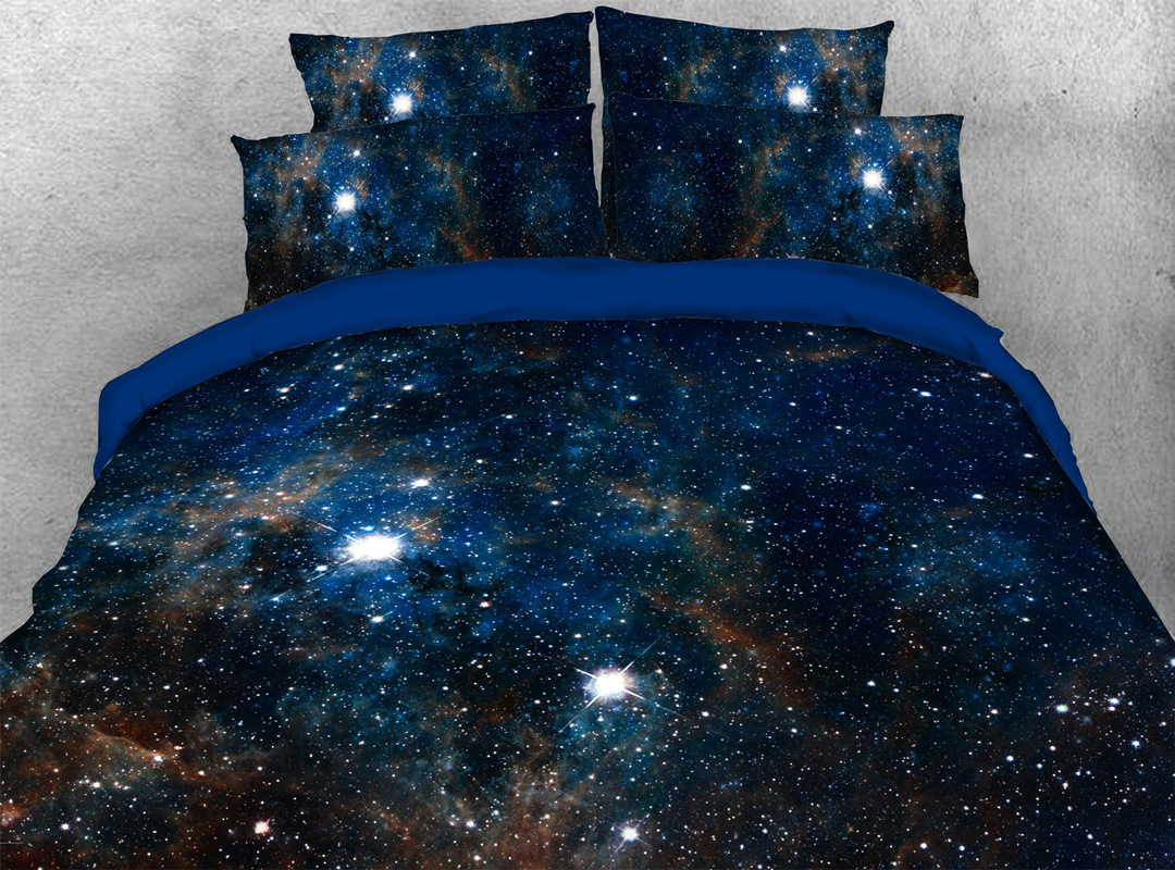 Navy Blue 3D Galaxy Zipper Bedding Sets Colorfast Hard-wearing 4pcs Duvet Cover with Corner Ties
