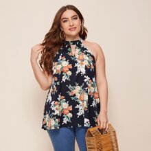 Plus Keyhole Neck Floral Print Halter Top