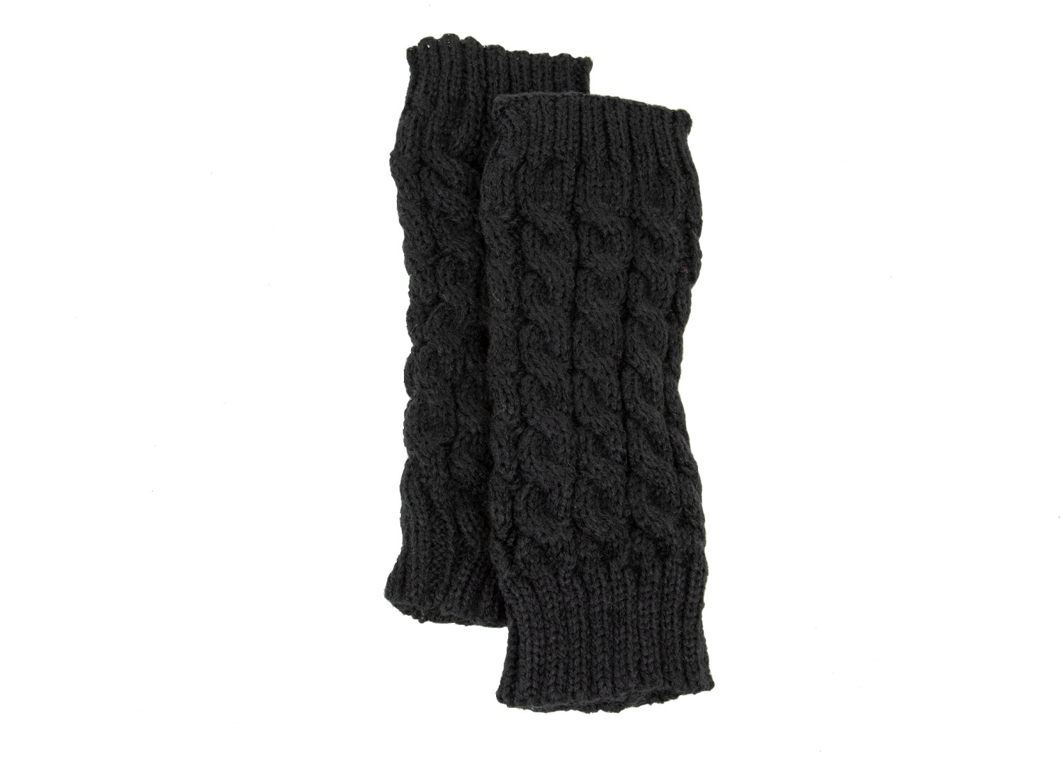 Exotic Identity Fingerless Gloves Cable Knit Tahoe Cold Weather Wear for Women - M - Black